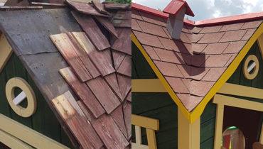 Vzdrževalna dela: Streha na otroški hiški - pred obnovo in po njej